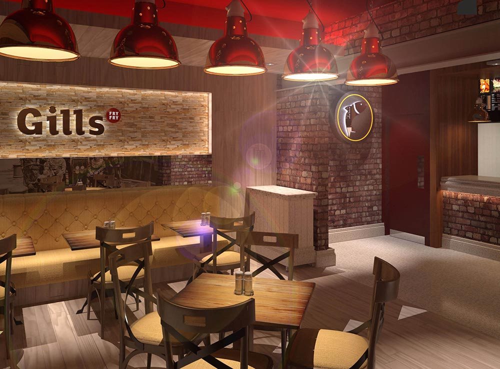 Gills fry fry sunderland space i d Kitchen design for fast food restaurant